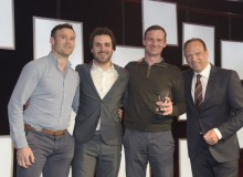 From left: Paudi Reidy (Operations Director, Select Roofing); Patrick Monhan (Comedian, and MC of the Awards Ceremony); John Kinsella (Managing Director, Select Roofing); Dr Joerg Schwall (Managing Director, Kalzip Europe/Middle East).